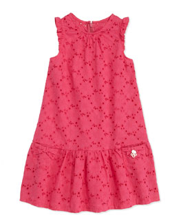 Tartine et Chocolat Eyelet Drop-Waist Dress, Fuchsia, Sizes 2-6