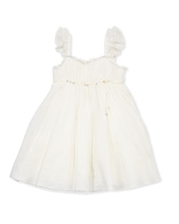 Tartine et Chocolat Toddler Girls' Festival Ribbed-Chiffon Dress, Off White, 2-6