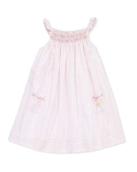 Toddler Girls' Striped Smocked Dress, Pink, 2-6