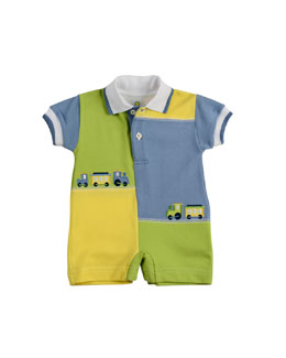 Florence Eiseman Chug Along Colorblock Short-Playsuit, Blue/Green/Yellow, 3-9 Months