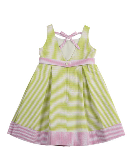 Girls' Seersucker Butterfly Dress, Green/White/Pink, 2T-3T