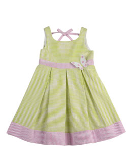 Florence Eiseman Girls' Seersucker Butterfly Dress, Green/White/Pink, 2T-3T