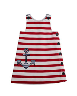 Florence Eiseman Girls' Anchor Pique Shift Dress, White/Red, 2T-3T