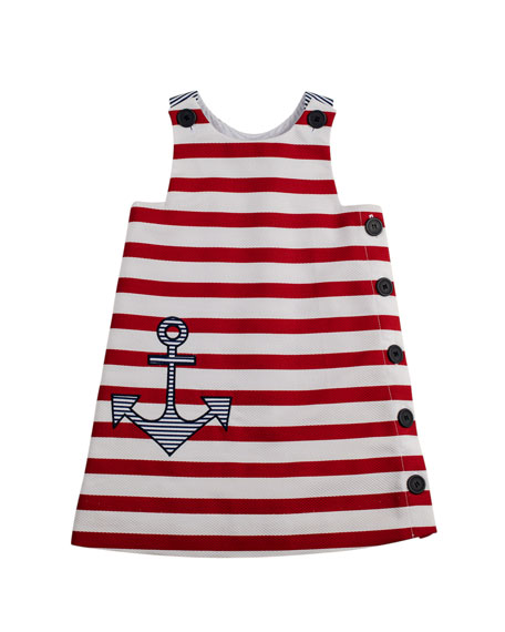 Girls' Anchor Pique Shift Dress, White/Red, 2T-3T