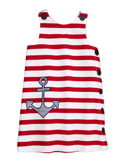 Florence Eiseman Girls' Anchor Pique Shift Dress, White/Red, 4-6X