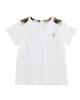 Burberry Baby Boys' Check-Shoulder Tee, White