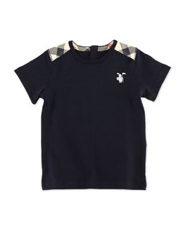 Burberry Toddler Boys' Check-Shoulder Tee, Navy