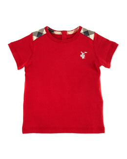 Burberry Toddler Boys' Check-Shoulder Tee, Red