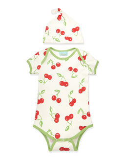 Bedhead Cherry Pick One-Piece Pajamas & Hat, 3-14 Months