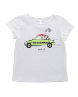 Milly Minis Taxi-Print Tee, White, Sizes 8-10