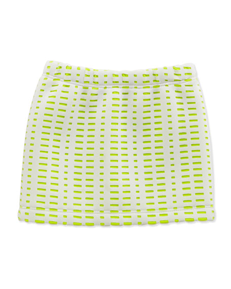 Perforated Scuba Skirt, Yellow, Sizes 8-10