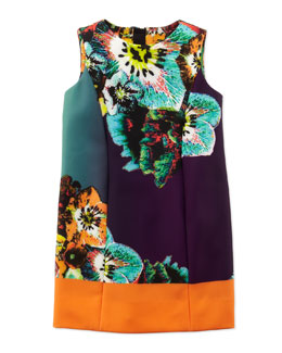 Milly Minis Sea Blossom Shift Dress, Multi, Sizes 8-10