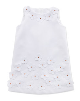 Milly Minis Floral-Applique Shift Dress, White, Sizes 8-10