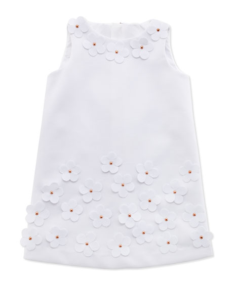 Floral-Applique Shift Dress, White, Sizes 8-10