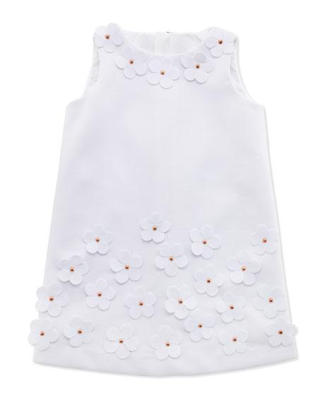 Floral-Applique Shift Dress, White, Sizes 8-10