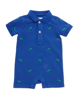 Ralph Lauren Childrenswear Schiffli Mesh Shortall, Blue, Baby Boys' 3-24 Months