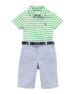 Ralph Lauren Childrenswear Stripe Jersey Polo & Oxford Pants Set, 3-12 Months