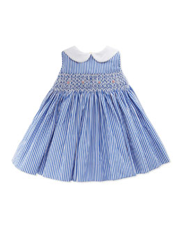 Ralph Lauren Childrenswear Bengal-Stripe Smocked Dress, Blue, 3-12 Months