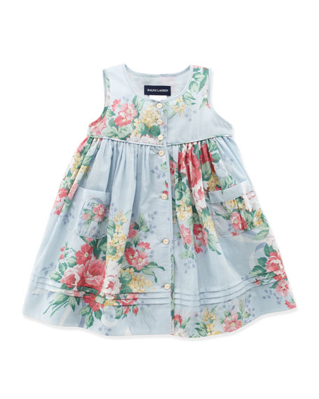 Mixed Floral Dress, Blue Multi, 3-12 Months