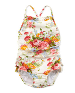 Ralph Lauren Childrenswear Floral-Print One-Piece Swimsuit, White, 6-24 Months