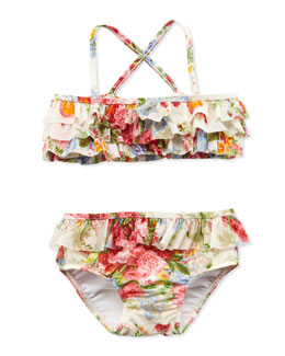 Ralph Lauren Childrenswear Floral-Print Two-Piece Swimsuit, White, 9-24 Months