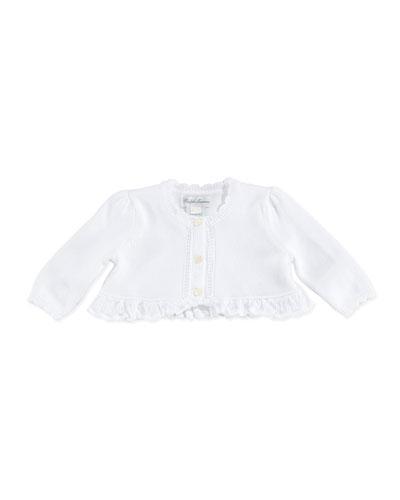 Ralph Lauren Childrenswear Precious Long-Sleeve Knit Shrug, White, 9-24 Months