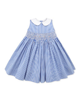 Ralph Lauren Childrenswear Bengal-Stripe Smocked Dress, Blue, 9-24 Months