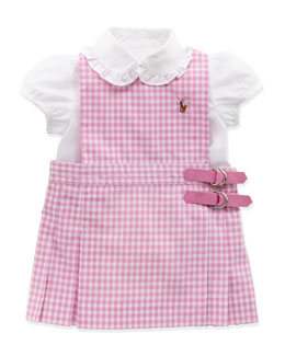 Ralph Lauren Childrenswear Gingham Jumper Set, Pink, 9-24 Months