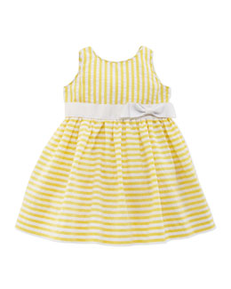Ralph Lauren Childrenswear Vintage Seersucker Dress, Yellow, 9-24 Months