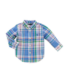 Ralph Lauren Childrenswear Plaid Long-Sleeve Blake Shirt, Blue Multi, 9-24 Months
