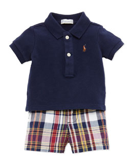 Ralph Lauren Childrenswear Polo & Plaid Shorts Set, Navy, 9-24 Months