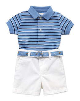 Ralph Lauren Childrenswear Interlock-Knit Polo & Shorts Set, 9-24 Months