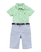 Ralph Lauren Childrenswear Stripe Jersey Polo & Oxford Pants Set, 9-24 Months
