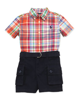 Ralph Lauren Childrenswear Plaid Shirt & Cargo Shorts Set, 9-24 Months