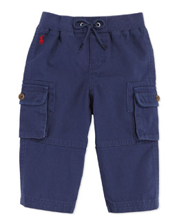 Ralph Lauren Childrenswear Woven Pull-On Pants, Blue, 9-24 Months