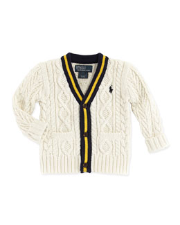 Ralph Lauren Childrenswear Cricket V-Neck Cardigan, Cream, 9-24 Months