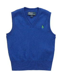 Ralph Lauren Childrenswear V-Neck Sweater Vest, Blue, 9-24 Months
