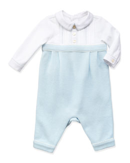 Ralph Lauren Childrenswear Mesh-Knit Combo Playsuit, Blue, 3-9 Months