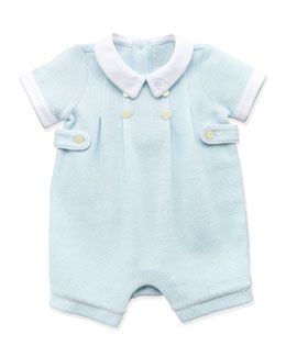 Ralph Lauren Childrenswear Mesh-Knit Shortall, Blue, 3-12 Months