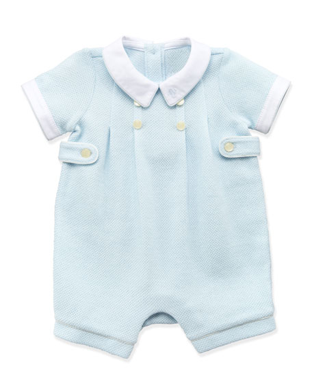 Mesh-Knit Shortall, Blue, 3-12 Months