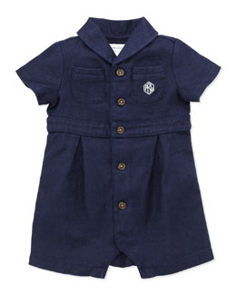 Ralph Lauren Childrenswear Shawl-Collar Woven Shortall, 3-12 Months