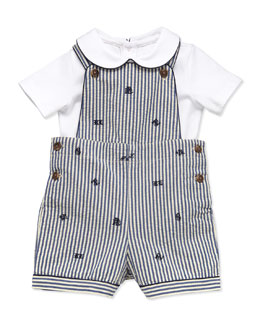 Ralph Lauren Childrenswear Seersucker Overall Set, 3-12 Months