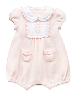 Ralph Lauren Childrenswear Mesh-Knit Bubble-Playsuit, Pink, 3-12 Months