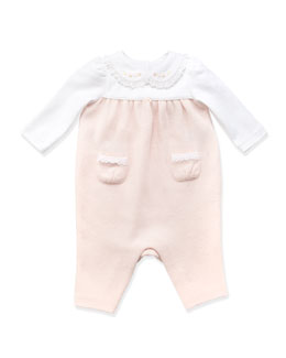 Ralph Lauren Childrenswear Mesh-Knit Combo Playsuit, Pink, 3-9 Months