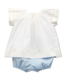 Ralph Lauren Childrenswear Flutter Blouse & Bloomer Set, 3-12 Months