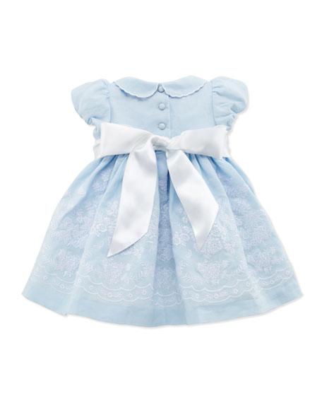 Embroidered Ramie Dress, Light Blue, 3-12 Months