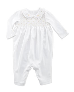 Ralph Lauren Childrenswear Smocked Cotton Coverall, White, Infant Girls' 3-9 Months