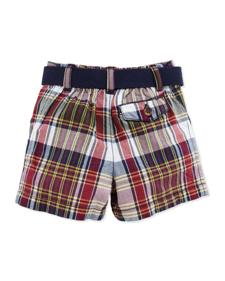 Polo & Plaid Shorts Set, Navy, 3-12 Months