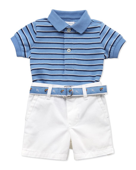 Interlock-Knit Polo & Shorts Set, 3-12 Months