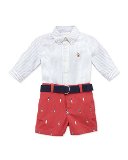 Ralph Lauren Childrenswear Striped Oxford & Schiffli Shorts Set, 3-12 Months